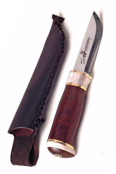 Billede af HIENO jagtkniv i birketræ  og renhjort samt messing