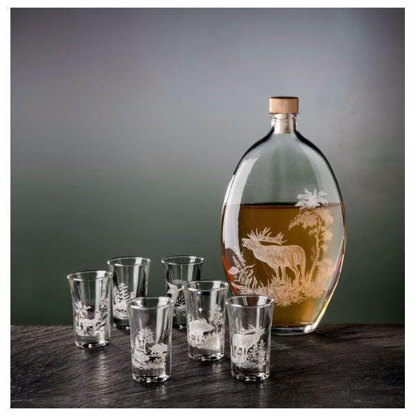 Billede af Snapsflaske - med  6 glas